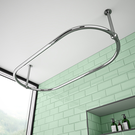 Chatsworth Traditional 1500 x 700mm Chrome Oval Shower Curtain Rail