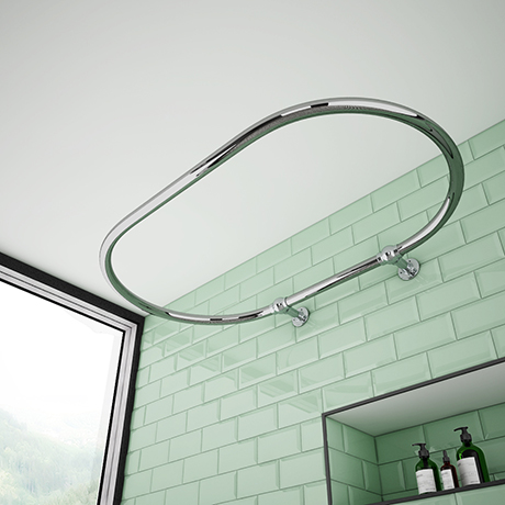 Chatsworth Traditional 1200 x 630mm Chrome Oval Shower Curtain Rail