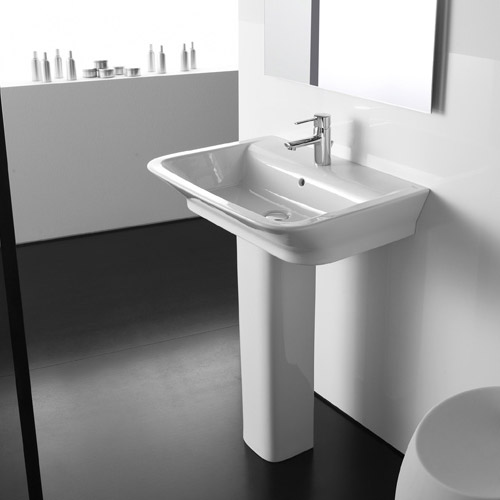 Roca - The Gap 650mm 1 tap hole basin with full pedestal Profile Large Image