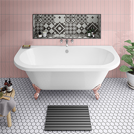 Admiral 1685 Back To Wall Roll Top Bath + Rose Gold Leg Set