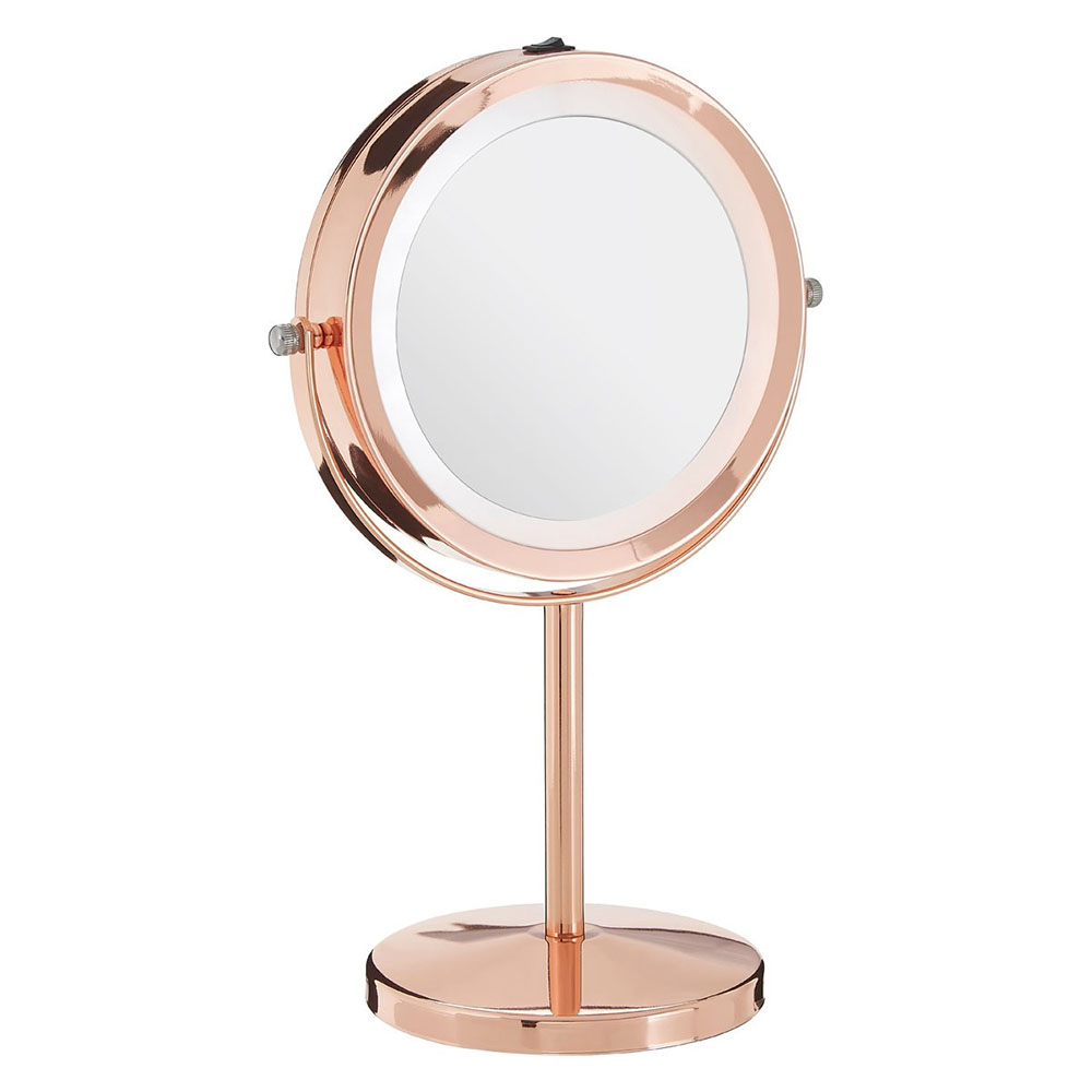 Arezzo Rose Gold LED Illuminated Free Standing Cosmetic Mirror