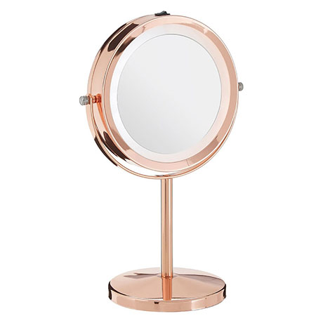 Rose Gold LED Illuminated Free Standing Cosmetic Mirror