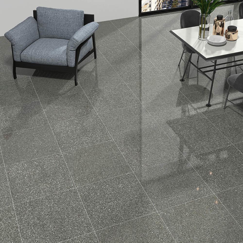 Rivara Grey Terrazzo Effect Floor Tiles - 608 x 608mm