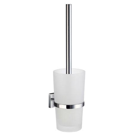 Smedbo House - Polished Chrome Wall Mounted Toilet Brush & Frosted Glass Container - RK333