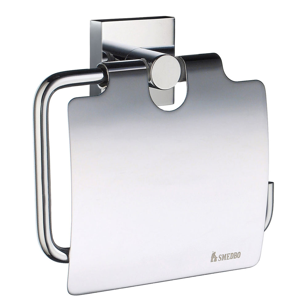 Smedbo House - Polished Chrome Toilet Roll Holder with Lid - RK3414 profile large image view 1