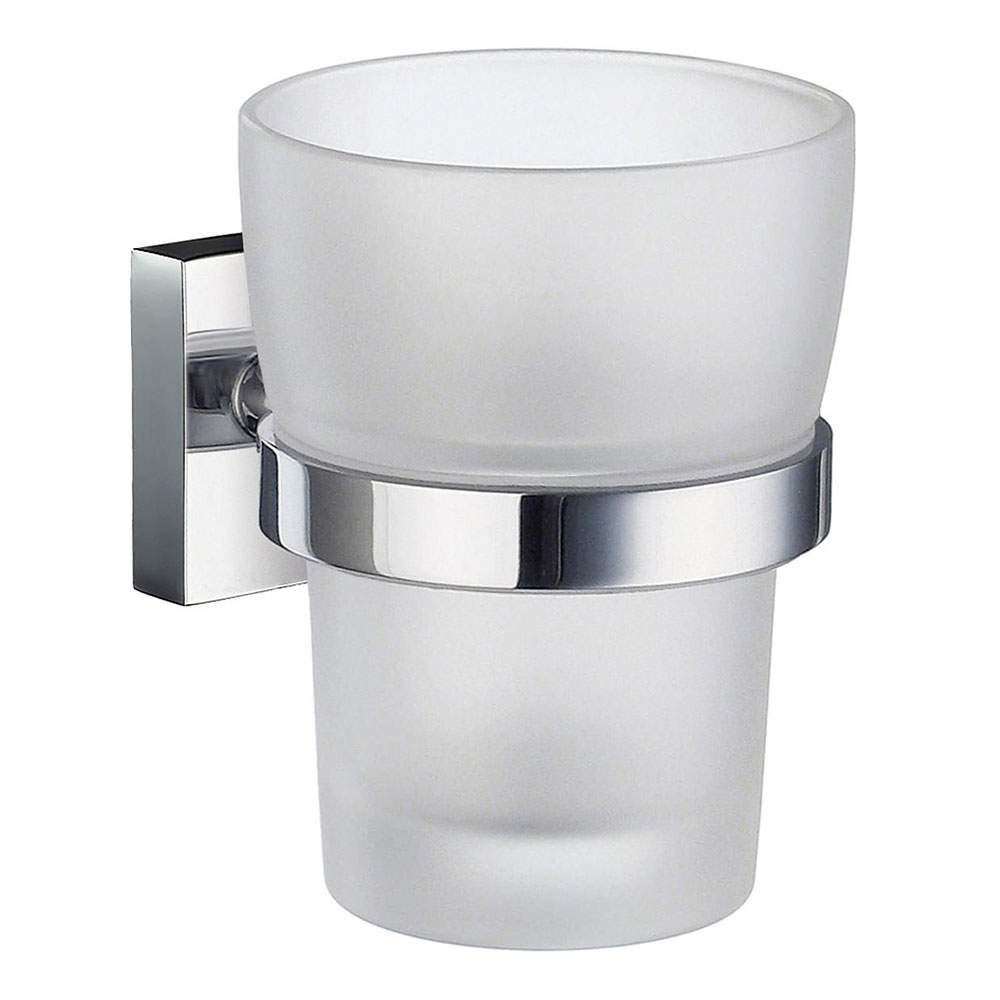 Smedbo House - Polished Chrome Holder with Frosted Glass Tumbler - RK343 Large Image