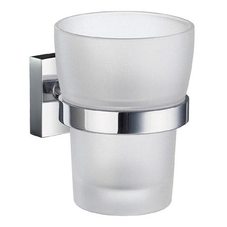 Smedbo House - Polished Chrome Holder with Frosted Glass Tumbler - RK343