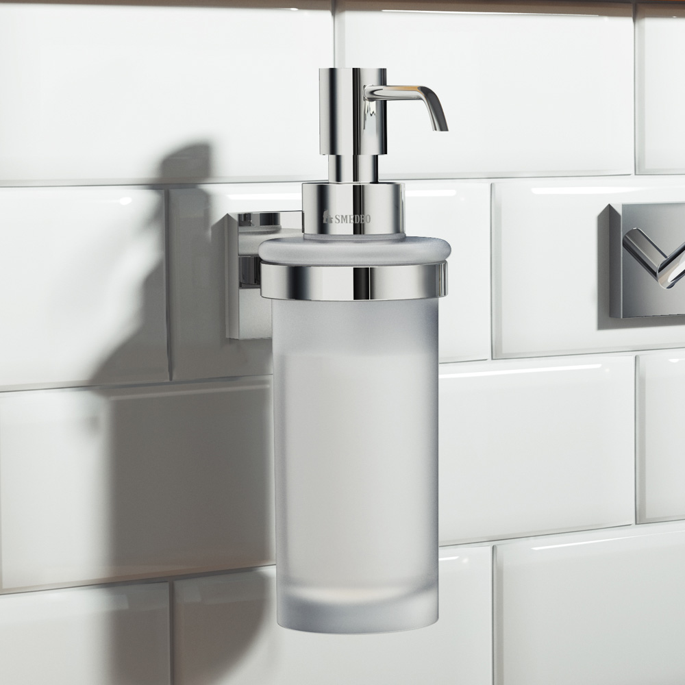 Smedbo House - Polished Chrome Holder with Frosted Glass Soap Dispenser - RK369 profile large image view 2