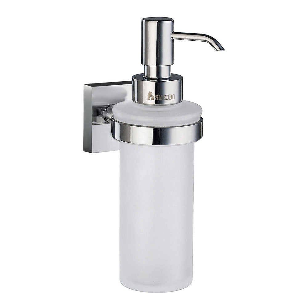 Smedbo House - Polished Chrome Holder with Frosted Glass Soap Dispenser - RK369 profile large image view 1