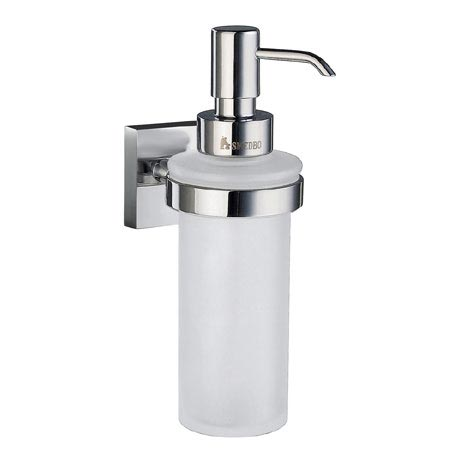 Smedbo House - Polished Chrome Holder with Frosted Glass Soap Dispenser - RK369