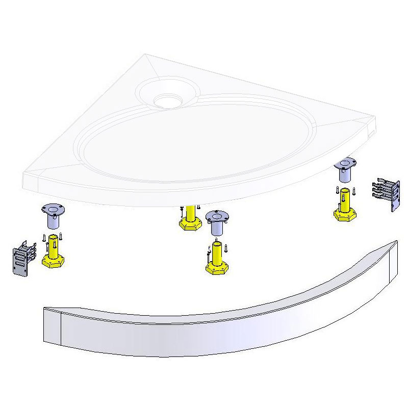 Coram - Crescent Slimline Tray Riser Kit - Various Size Options Large Image