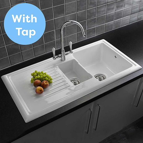 Reginox Traditional White Ceramic 1.5 Kitchen Sink and Mixer Tap