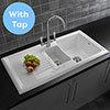Reginox Traditional White Ceramic 1.5 Kitchen Sink + Mixer Tap profile small image view 1