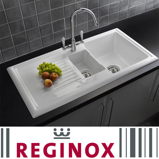 reginox traditional white ceramic 15 kitchen sink and mixer tap at victorian plumbing uk - Kitchen Sinks Uk