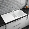 Reginox White Ceramic 1.5 Bowl Kitchen Sink - RL301CW profile small image view 1