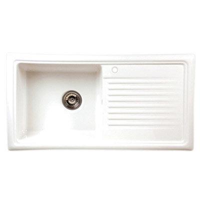 Reginox White Ceramic 1.0 Bowl Kitchen Sink with Mixer Tap profile large image view 2