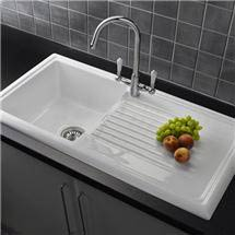 Reginox White Ceramic 1.0 Bowl Kitchen Sink with Mixer Tap Medium Image