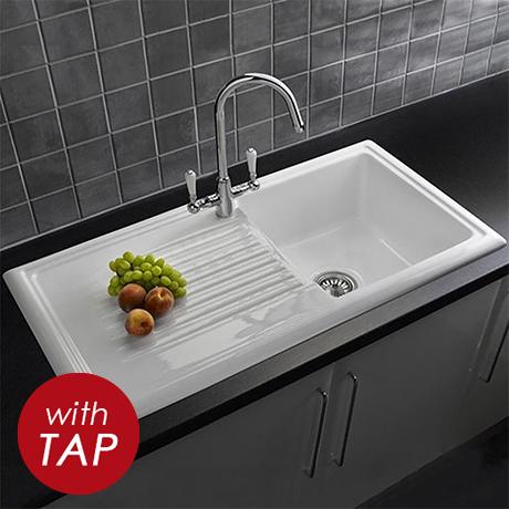 Reginox White Ceramic 1.0 Bowl Kitchen Sink + Mixer Tap