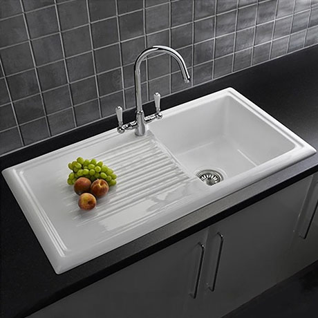 Reginox White Ceramic 1.0 Bowl Kitchen Sink + Mixer Tap