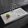 Reginox White Ceramic 1.0 Bowl Kitchen Sink + Mixer Tap profile small image view 1
