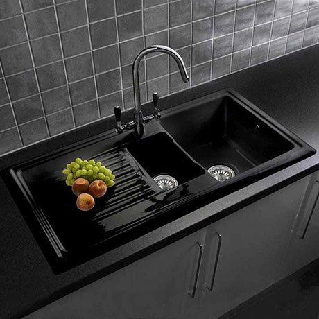 Reginox Traditional Black Ceramic 1 5 Kitchen Sink Brooklyn Mixer Tap