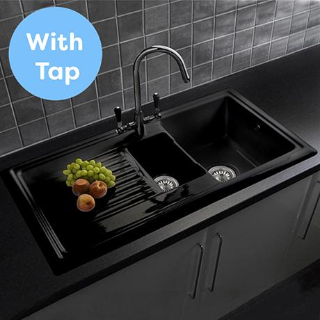 Reginox Traditional Black Ceramic 1.5 Kitchen Sink + Brooklyn Mixer Tap