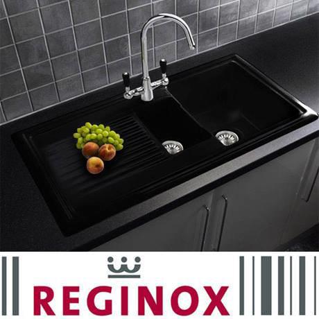 Reginox Traditional Black Ceramic 1.5 Bowl Kitchen Sink