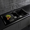 Reginox Traditional Black Ceramic 1.5 Bowl Kitchen Sink profile small image view 1