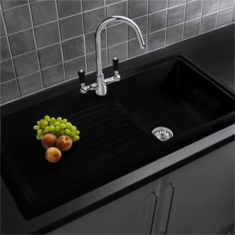 Reginox Traditional Black Ceramic 1.0 Kitchen Sink and Brooklyn ...
