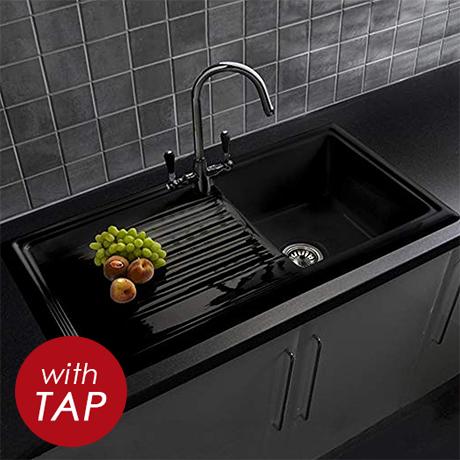 Reginox Traditional Black Ceramic 1.0 Kitchen Sink + Brooklyn Mixer Tap