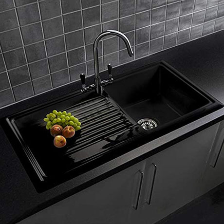 Reginox Traditional Black Ceramic 1.0 Kitchen Sink + Brooklyn Mixer Tap