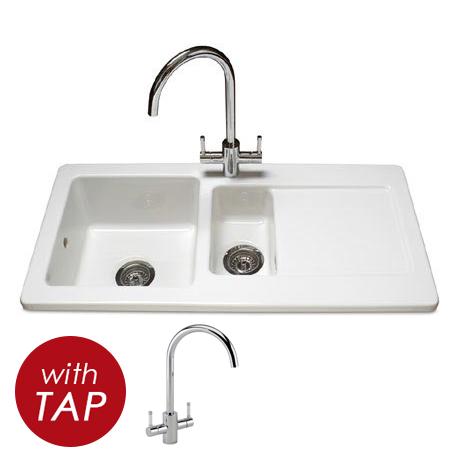 Reginox Contemporary White Ceramic 1.5 Bowl Kitchen Sink RL501CW + Tap