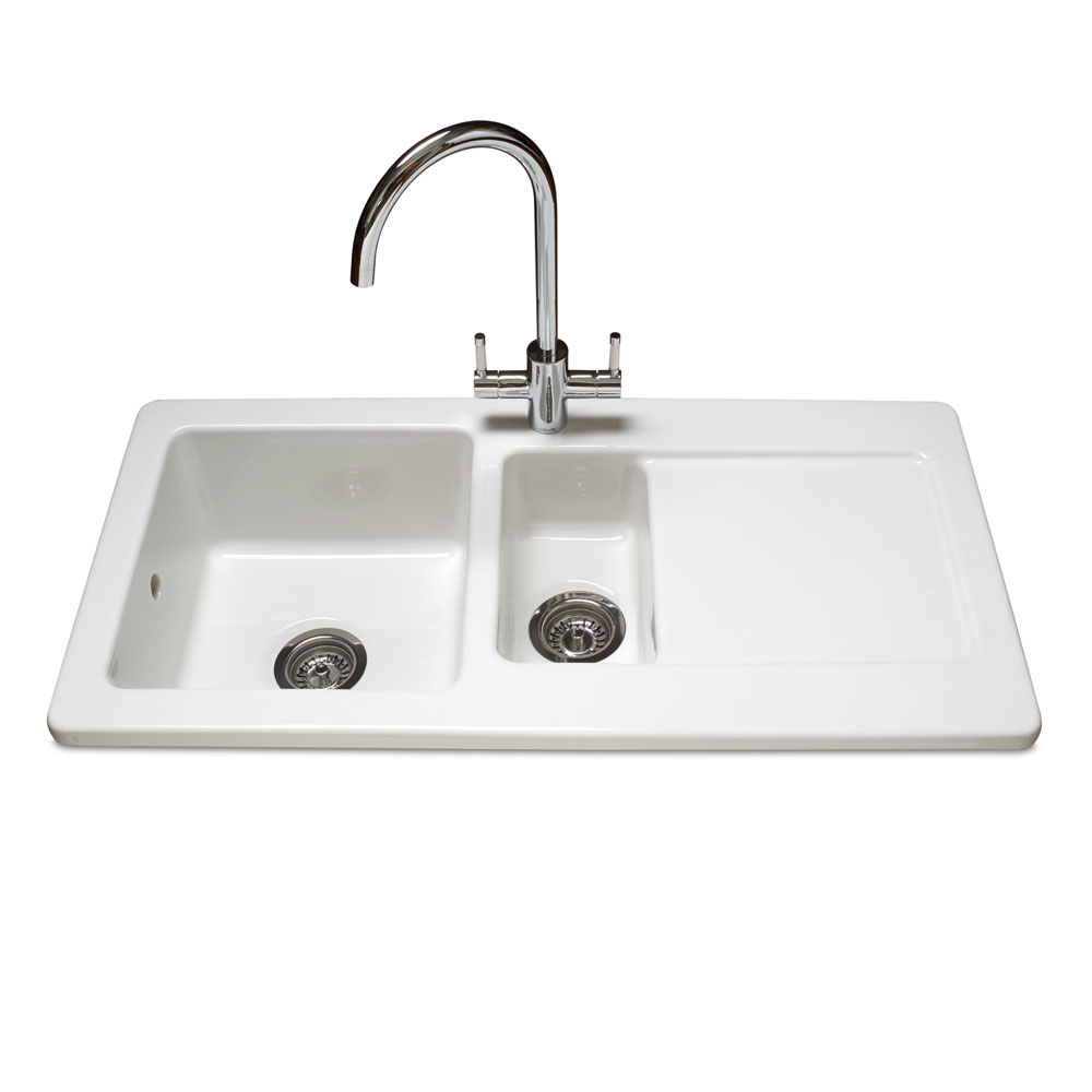 Reginox Contemporary White Ceramic 1.5 Bowl Kitchen Sink RL501CW + Tap profile large image view 1