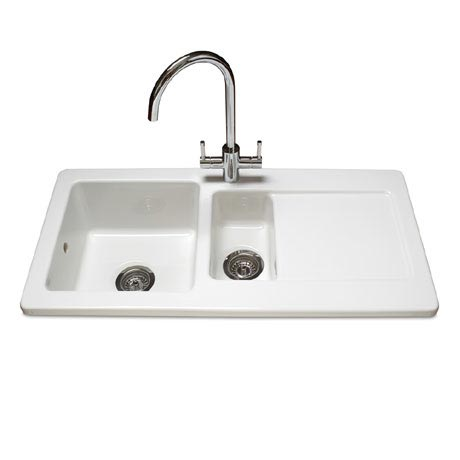 Reginox Contemporary White Ceramic 1.5 Bowl Kitchen Sink - RL501CW