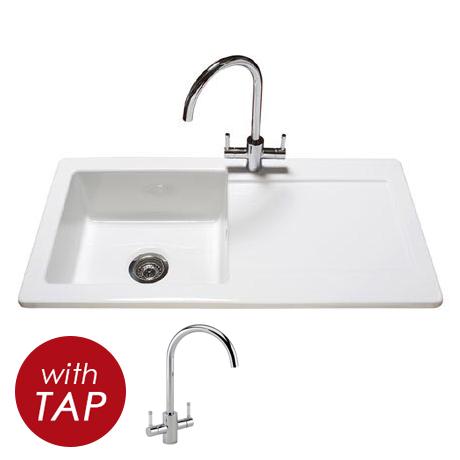 Reginox Contemporary White Ceramic 1.0 Bowl Kitchen Sink RL504CW + Tap