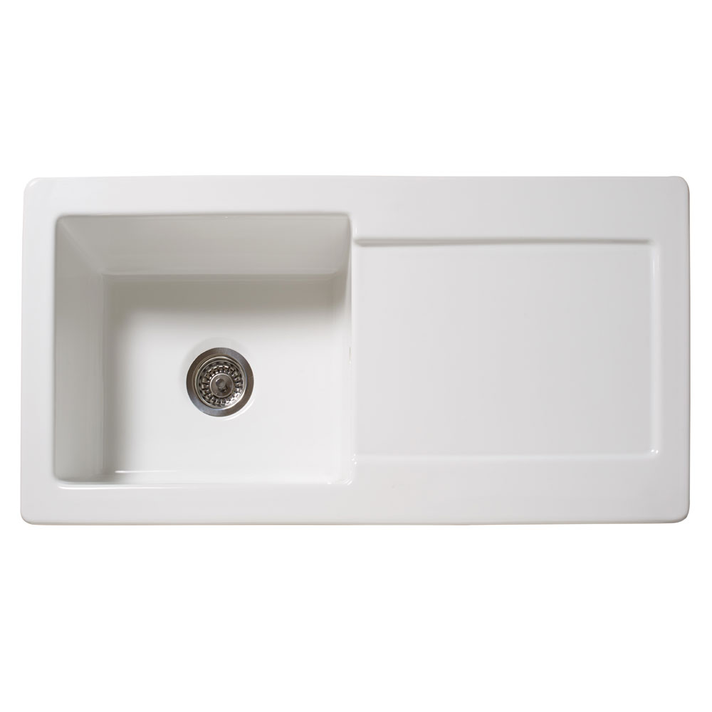 Reginox Contemporary White Ceramic 1.0 Bowl Kitchen Sink - RL504CW profile large image view 2