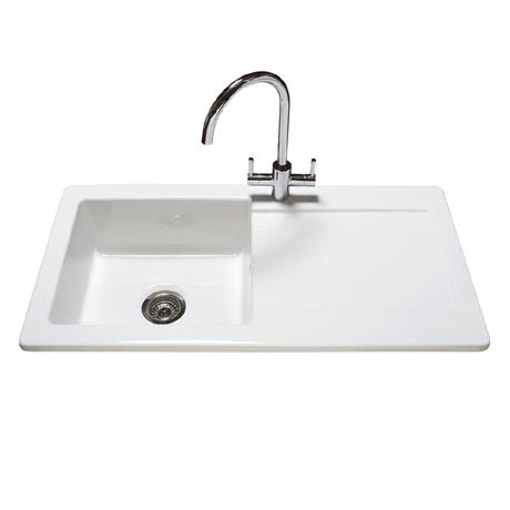 Reginox Contemporary White Ceramic 1.0 Bowl Kitchen Sink RL504CW with Tap