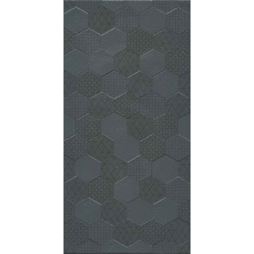 Arden Anthracite Linen Effect Hexagon Decor Wall Tiles - 30 x 60cm  Feature Large Image