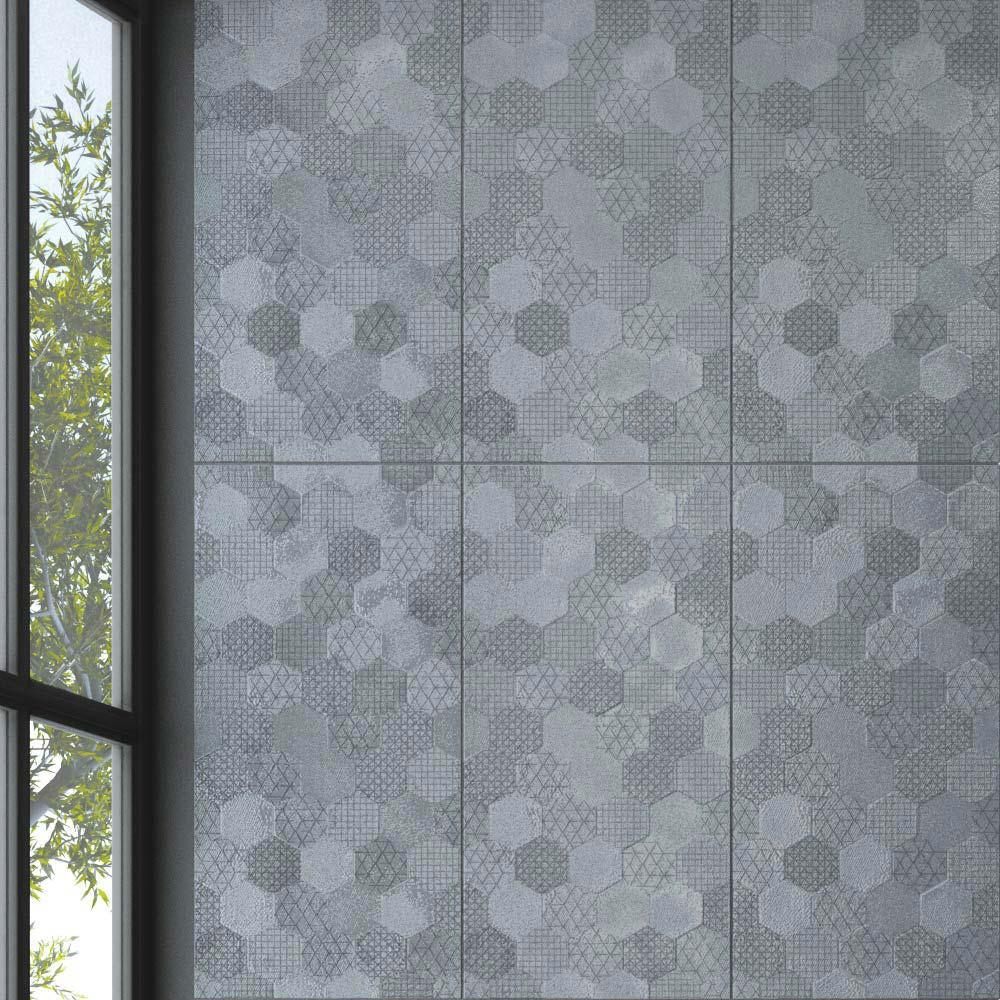 Arden Anthracite Linen Effect Hexagon Decor Wall Tiles - 30 x 60cm Large Image