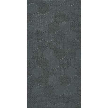 Arden Anthracite Linen Effect Hexagon Decor Wall Tiles - 30 x 60cm