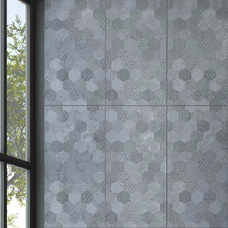 Arden Anthracite Linen Effect Hexagon Decor Wall Tiles - 30 x 60cm