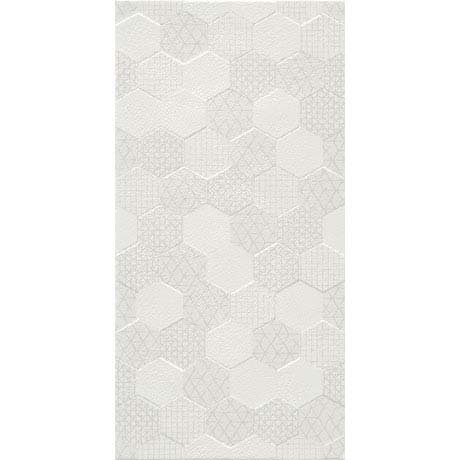 Arden White Linen Effect Hexagon Decor Wall Tiles - 30 x 60cm