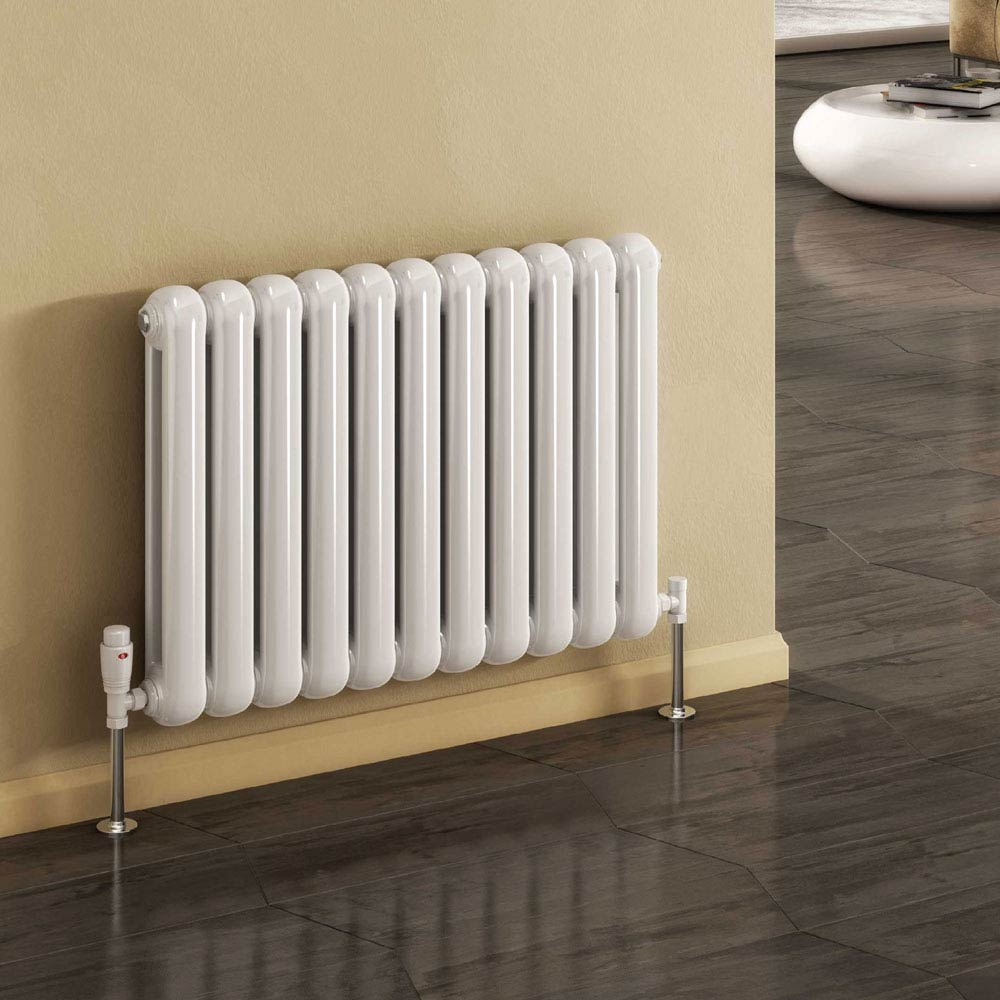 Reina Coneva Horizontal Steel Designer Radiator - White profile large image view 1