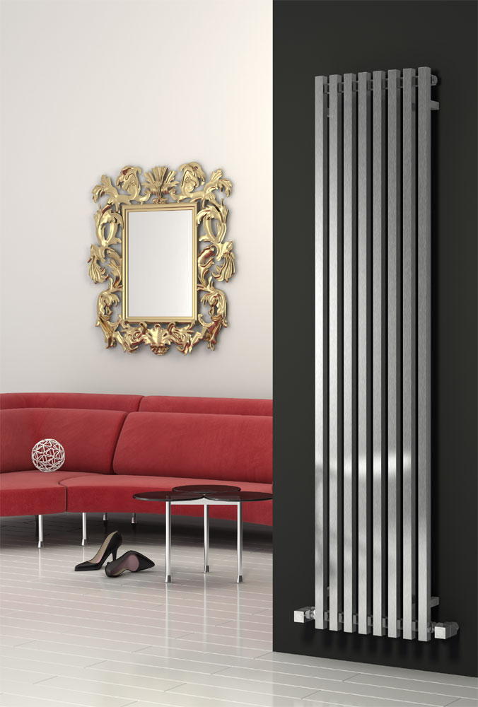Reina Cascia Vertical Steel Designer Radiator - Chrome Large Image