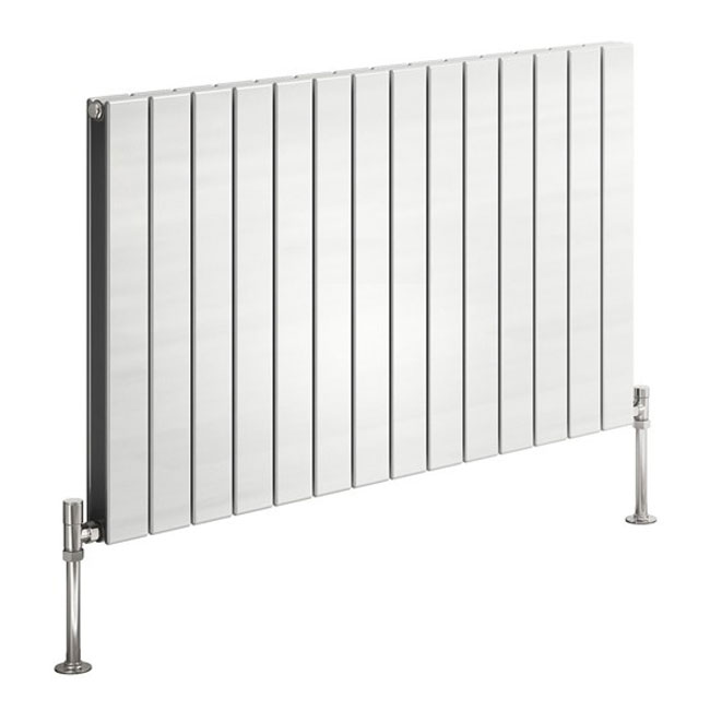 Reina Flat Horizontal Double Panel Designer Radiator - White Large Image