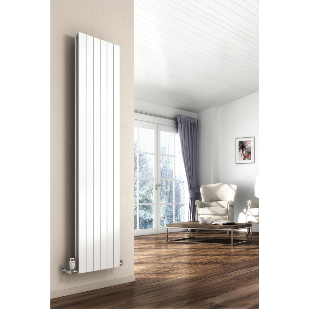 Reina Flat Vertical Double Panel Designer Radiator - Anthracite profile large image view 2
