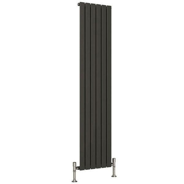 Reina Flat Vertical Single Panel Designer Radiator - Anthracite Large Image