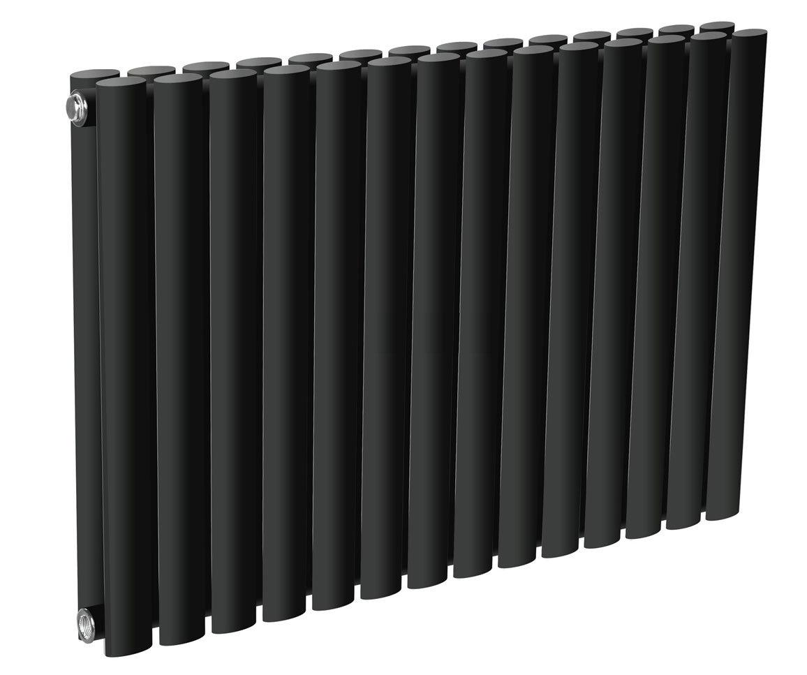 Reina Neva Horizontal Double Panel Designer Radiator - Black profile large image view 3