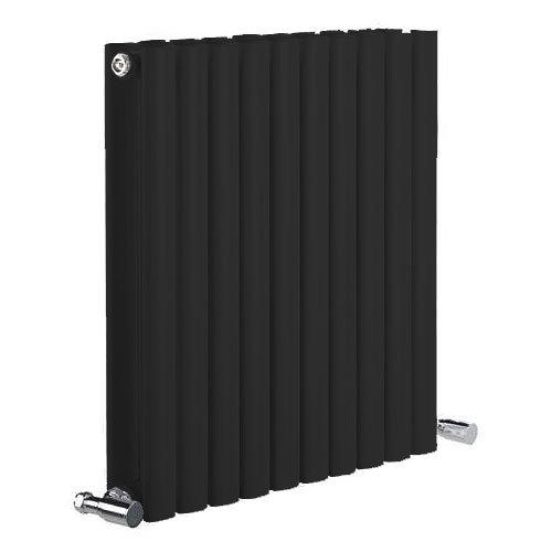 Reina Neva Horizontal Double Panel Designer Radiator - Black Large Image