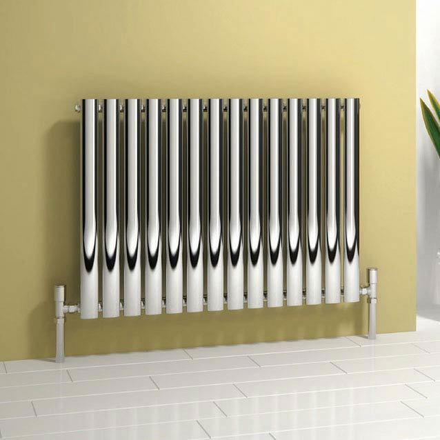 Reina Neva Horizontal Single Panel Designer Radiator - Chrome Large Image